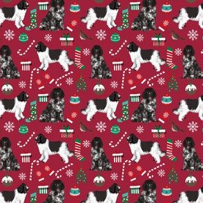 SMALL - newfoundland christmas fabric, newfoundland dog fabric, newf,  dog xmas holilday christmas fabric dogs fabric landseer dog newfoundlands
