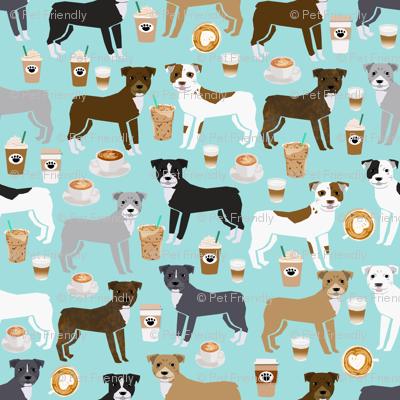 SMALL - pitbull fabric, pitbull dog fabric, dog fabrics, pitbull fabric by the yard, coffee fabrics cute pitbull terrier fabric design pittys design love rescue dogs fabric