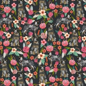 SMALL - Australian Cattle Dog fabric, australian cattle dog, blue heeler fabric, dog fabric, cute dog fabric, dogs fabric, cattle dog florals, floral dog fabric, cute dog, florals charcoal