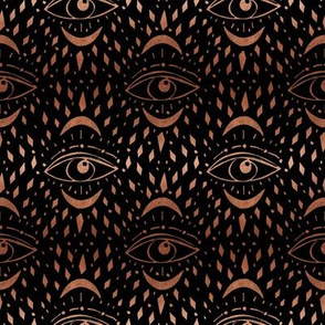 mystic eye fabric, eye design, eye fabric, evil eye fabric, tarot, tarot fabric, mystical - black and copper