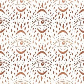 mystic eye fabric, eye design, eye fabric, evil eye fabric, tarot, tarot fabric, mystical - copper