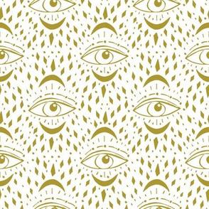 mystic eye fabric, eye design, eye fabric, evil eye fabric, tarot, tarot fabric, mystical - gold
