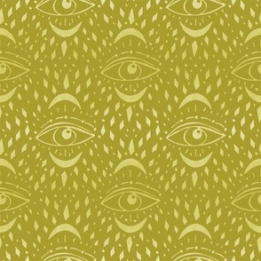 mystic eye fabric, eye design, eye fabric, evil eye fabric, tarot, tarot fabric, mystical - bright mustard