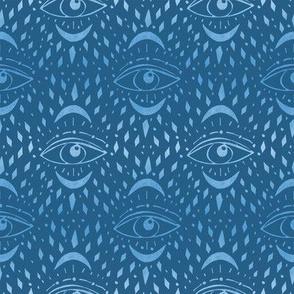 mystic eye fabric, eye design, eye fabric, evil eye fabric, tarot, tarot fabric, mystical - blue