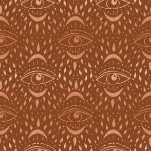 mystic eye fabric, eye design, eye fabric, evil eye fabric, tarot, tarot fabric, mystical -rust