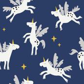 Unicorn on navy blue