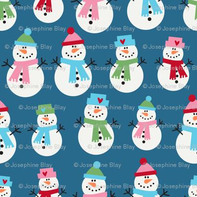 Snowmen on blue