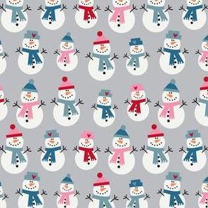 Snowmen on grey