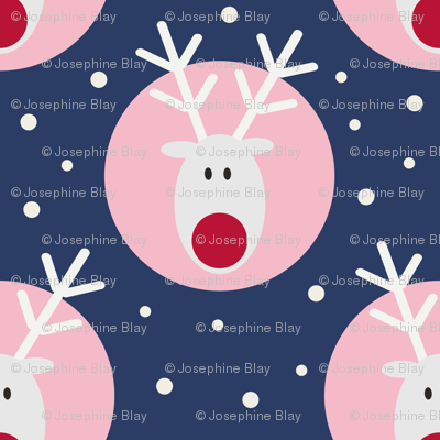 White Rudolph on blue