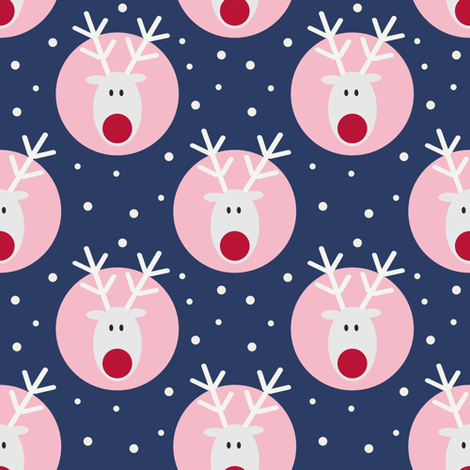 White Rudolph on blue fabric by kaicopenhagen on Spoonflower - custom fabric