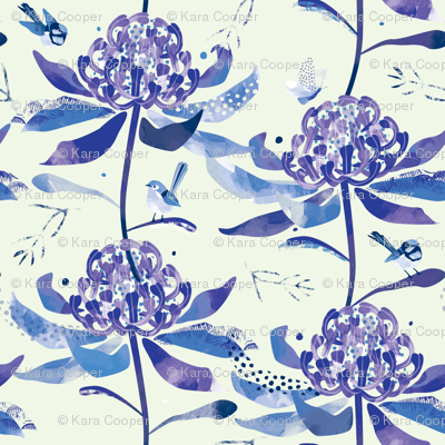 Chinoiserie Waratahs & Fairy Wrens by Mount Vic and Me