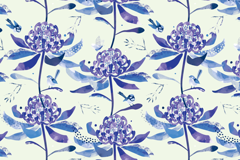Chinoiserie Waratahs & Fairy Wrens by Mount Vic and Me fabric by mountvicandme on Spoonflower - custom fabric