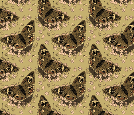Stonecrop and Buckeye sepia 8x8 fabric by leroyj on Spoonflower - custom fabric