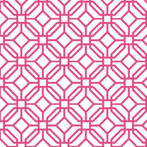 Octagon trellis - hot pink on white