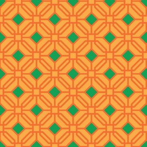 Octagon trellis - green and orange on amber