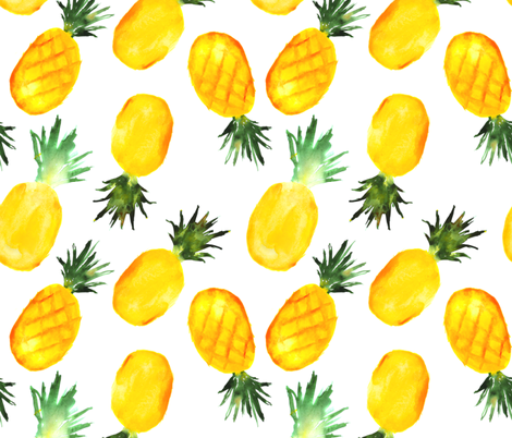 Watercolor pineapples, extra large scale fabric by katerinaizotova on Spoonflower - custom fabric