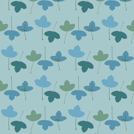 french acer leaves, blue fabric by nikitasaami on Spoonflower - custom fabric