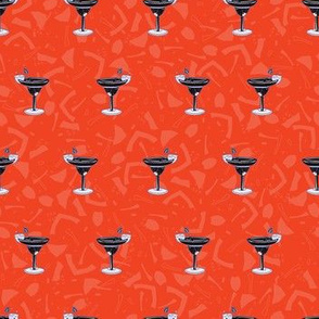Mixed Drinks Cocktails Glass Seamless Vector Pattern, Drawn Bar Illustration
