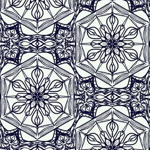 Nouveau Floral Leadlight of Blackberry on a Whisper of Blue