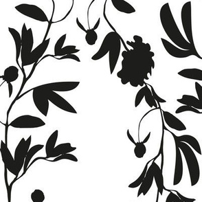 White and Black Floral Damask