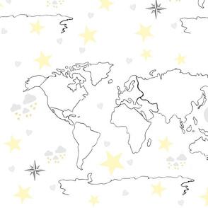 map world black white 22 -moon stars gray yellow