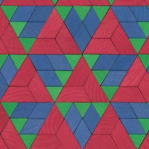pattern blocks - red / blue / green triangles
