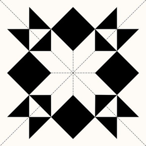 Morning Star Graphic Quilt: Black & Cream Cheater Quilt