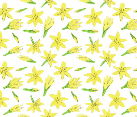 yellow flowers fabric by charlotte_lorge on Spoonflower - custom fabric