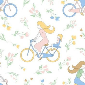 bikes and flowers in pastel colors