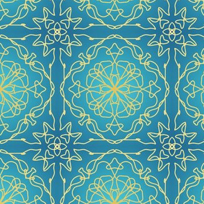 Golden lace on blue