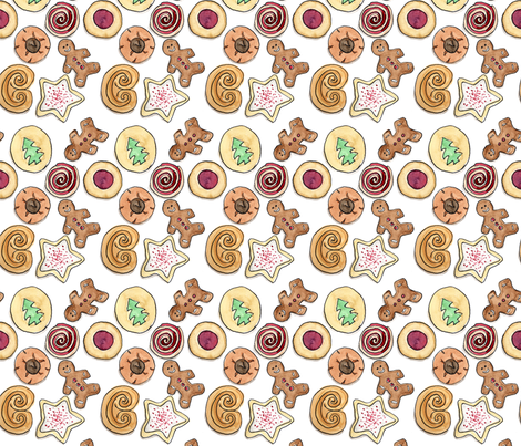 Holiday Cookies with Gingerbread Men fabric by eileenmckenna on Spoonflower - custom fabric