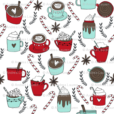 MINI - hot chocolate fabric // hot cocoa christmas fabric peppermint coffee peppermint drinks cute holiday hot chocolates