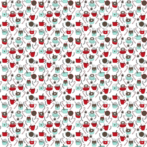 MINI - hot chocolate fabric // hot cocoa christmas fabric peppermint coffee peppermint drinks cute holiday hot chocolates fabric by andrea_lauren on Spoonflower - custom fabric