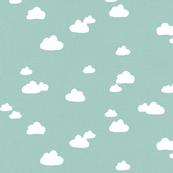 Clouds on Teal Aqua Linen