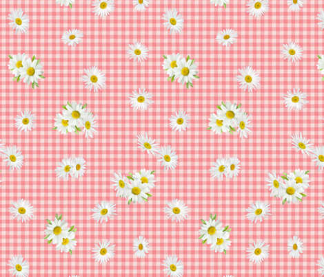 Flora Gingham - Pink fabric by lucy_barracuda on Spoonflower - custom fabric