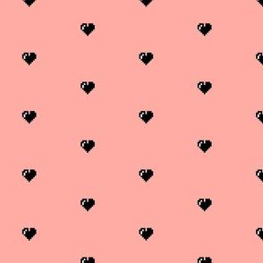 pixel hearts in blush