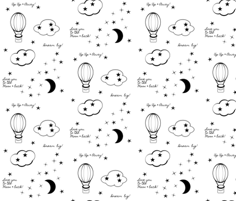 moon star balloon nursery 6  - black and white fabric by drapestudio on Spoonflower - custom fabric