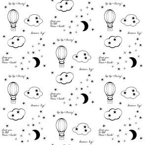 moon star balloon nursery 6  - black and white