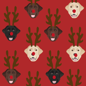 labrador dog fabric - labrador dogs, labrador christmas fabric, labrador fabric by the yard, lab dog fabric, lab fabric, cute dog reindeer fabric -red