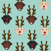 labrador dog fabric - labrador dogs, labrador christmas fabric, labrador fabric by the yard, lab dog fabric, lab fabric, cute dog reindeer fabric - light mint