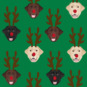 labrador dog fabric - labrador dogs, labrador christmas fabric, labrador fabric by the yard, lab dog fabric, lab fabric, cute dog reindeer fabric - green