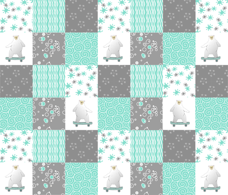 bears on wheels teal  quilt  fabric by bodabe on Spoonflower - custom fabric