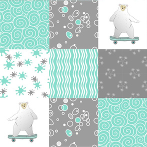 bears on wheels teal  quilt