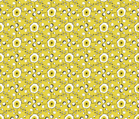 Plum Blossom Square in Mustard  fabric by chrissy_philbrick on Spoonflower - custom fabric