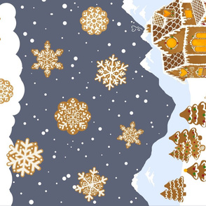 Gingerbread winter scene // tea towel