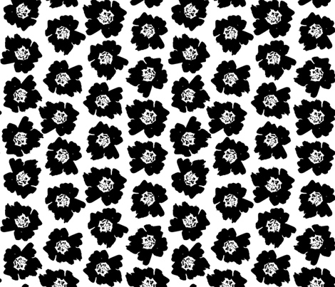 """3"""" Flower pop - floral pop fabric, floral fabric, bright bold fabric, floral wallpaper, retro wallpaper, large curtain fabric, mod wallpaper, large scale wallpaper, scandi retro florals, retro floral wallpaper, - bw fabric by charlottewinter on Spoonflower - custom fabric"""