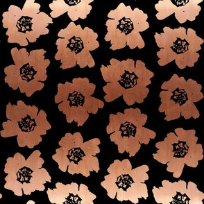 "3"" Flower pop - floral pop fabric, floral fabric, bright bold fabric, floral wallpaper, retro wallpaper, large curtain fabric, mod wallpaper, large scale wallpaper, scandi retro florals, retro floral wallpaper, - copper and black"