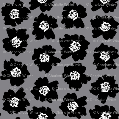"""4"""" Flower pop - floral pop fabric, floral fabric, bright bold fabric, floral wallpaper, retro wallpaper, large curtain fabric, mod wallpaper, large scale wallpaper, scandi retro florals, retro floral wallpaper, - grey"""