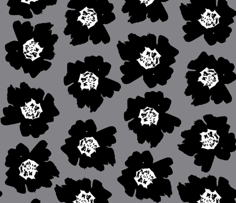 """4"""" Flower pop - floral pop fabric, floral fabric, bright bold fabric, floral wallpaper, retro wallpaper, large curtain fabric, mod wallpaper, large scale wallpaper, scandi retro florals, retro floral wallpaper, - grey fabric by charlottewinter on Spoonflower - custom fabric"""