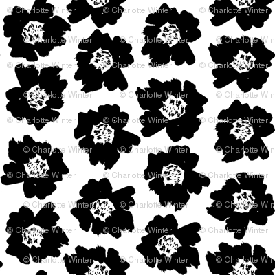 "4"" Flower pop - floral pop fabric, floral fabric, bright bold fabric, floral wallpaper, retro wallpaper, large curtain fabric, mod wallpaper, large scale wallpaper, scandi retro florals, retro floral wallpaper, - bw"